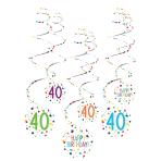 6 Swirl Decorations 40 Confetti Birthday Paper 61 cm