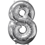 Mid Size Number 8 Silver Foil Balloon L26 Packaged 43cm x 66cm