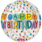 """Orbz """"HBD Rainbow"""" Foil Balloon Clear, G20, packed, 38 x 40cm"""