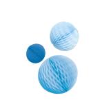 3 Honeycomb Decorations Sky Blue Paper 14 cm / 18 cm / 22 cm