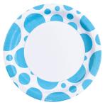 8 Plates Caribbean Blue Dots Paper Round 22.8 cm