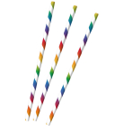 12 Drinking Straws Bright Rainbow Paper 19.5 cm
