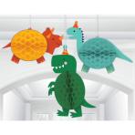 3 Honeycomb Hanging Decoration Dino-Mite