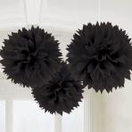 3 Fluffy Decorations Black Paper 40.6 cm