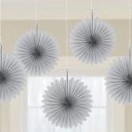 5 Fan Decorations Silver Paper 15.2 cm