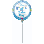 9'' Shower with Love Boy Foil Balloon Round A15 Air Filled 23 cm