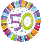 Standard Radiant Birthday 50 Foil Balloon S55 Packaged