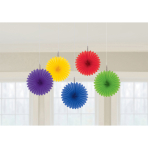 5 Fan Decorations Rainbow Paper 15.2 cm