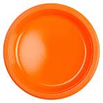 10 Plates Orange Peel Plastic Round 22.8 cm