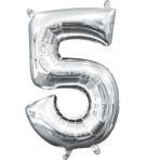MiniShape Number 5 Silver Foil Balloon L16 Packaged 22cm x 33cm
