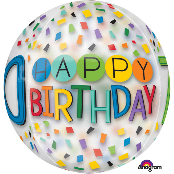 Orbz Happy 70th Birthday Rainbow Foil Balloon Clear G20 Packed 38 X 40cm