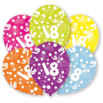 6 Latex Balloons All Round Printed Age 18 27.5 cm/11''