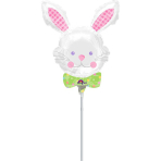 "Mini Shape ""Happy Hop Bunny"" Foil Balloon, A30, bulk"