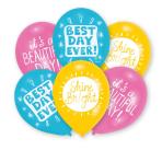 """6 Balloons latex Happy Day 2  7,5 cm/11"""""""