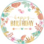 8 Plates Boho Birthday Girl Paper Round Metallic 26.7 cm