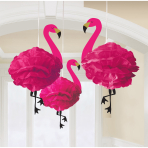 3 Fluffy Hanging Decorations Flamingo Paper 49.5 cm