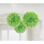 3 Fluffy Decorations Kiwi Green Paper 40.6 cm