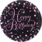 8 Plates Happy Birthday Sparkling Celebrations Paper Round Pink Prismatic 22.8 cm