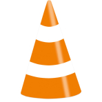 8 Party Cone Hats On the Road Paper Height 16 cm