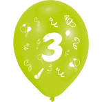 """8 Latex Balloons Age 3 2-Sided 25.4 cm / 10"""""""