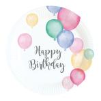 8 Plates Happy Birthday Pastel Round Papier 18 cm