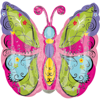 Mini Shape Whimsical Garden Butterfly Foil Balloon A30 Bulk