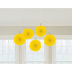 5 Paper Fan Decorations Yellow15.2 cm
