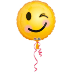 Standard Emoticon Smile Foil Balloon, round, S40, packed, 43 cm