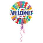 "Standard ""Welcome Dots & Stripes"" Foil Balloon Round, S40, packed, 43 cm"