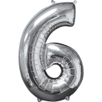 Mid Size Number 6 Silver Foil Balloon L26 Packaged 43cm x 66cm