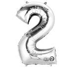 SuperShape Number 2 Silver Foil Balloon L34 Packaged 50cm x 88cm
