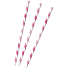 12 Drinking Straws Hot Pink Paper 19.7 cm