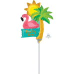 """Mini Shape """"Let's Flamingle It's Party Time"""" Foil Balloon, A30, airfilled"""