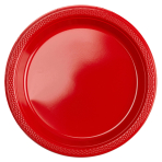20 Plates Apple Red Plastic Round 17.7 cm
