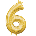 MiniShape Number 6 Gold Foil Balloon L16 Packaged 20cm x 35c