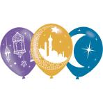 "6 Latex Balloons Eid 27.5 cm / 11"""