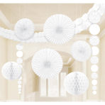 Decoration Kit Damask White Paper 9 Pieces 360 cm / 90 cm / 20.3 - 30.4 cm