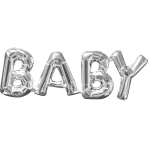 """SuperShape Phrase """"Baby"""" Silver Foil Balloon P35 Packaged 66x 22 cm"""