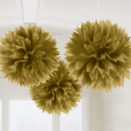 3 Fluffy Decorations Gold Paper 40.6 cm