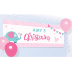 Foil Banner Christening Day - Pink Personalizable 120 x 45 c