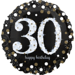 "Jumbo ""Sparkling Birthday 30"" Foil Balloon, P40, packed, 71 x 71cm"