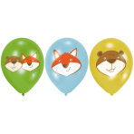 "6 Latex Balloons Fox & Beaver 27.5 cm / 11"""