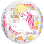 "Clear Orbz ""Magical Unicorn"" Foil Balloon Clear, G20, packed, 38 x 40cm"