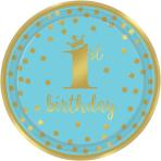 8 Plates 1st Birthday Paper Round Blue & Gold 22.8 cm