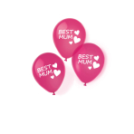 6 Latex Balloons Best Mom 27.5 cm / 11""
