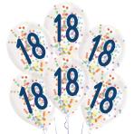 "6 Latex Balloons Droplets 18 Confetti Birthday 1C Confetti Filled Paper 27.5 cm / 11"""