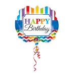 SuperShape Happy BirthdayStripe & Chevron Foil Balloon P35 Packaged 63 x 55 cm