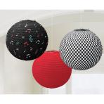 3 Round Paper Lanterns Classic50's 24 cm