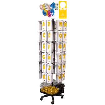 60-Peg Floor Spinner Black 61 x 61 x 183 cm