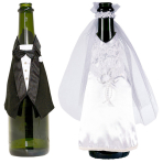 Champagne Bottle Wear Bride and Groom Fabric 34.3 x 23.5 cm